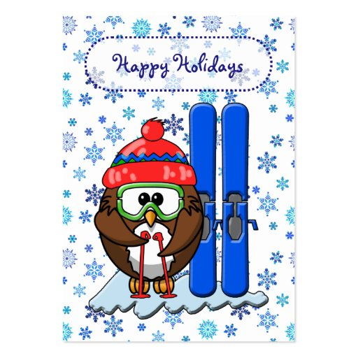coruja do esquiador cartoes de visita