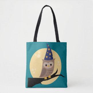 Coruja do feiticeiro por todo o lado na sacola do bolsas tote