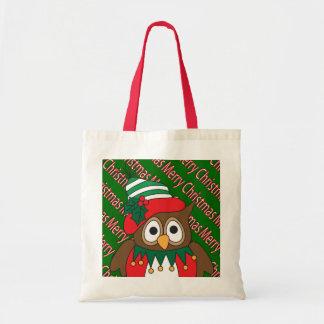 Coruja do Feliz Natal Sacola Tote Budget