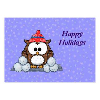 coruja do inverno modelo cartoes de visitas