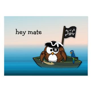 coruja do pirata - festa de aniversário cartão de visita grande