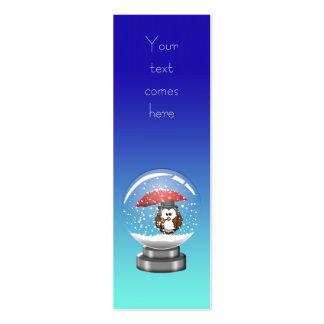 coruja do snowglobe modelos cartão de visita