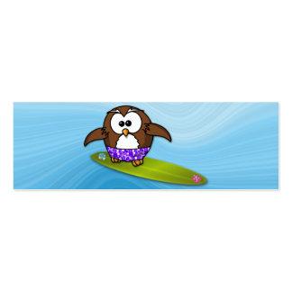 coruja do surfista cartão de visita skinny