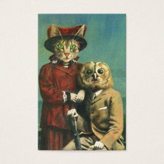 Coruja do vintage e cartão de visita do gato ACEO