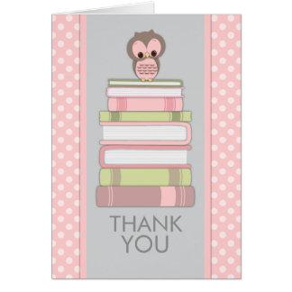 Coruja doce em cartões de agradecimentos dos