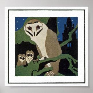 Coruja e Owlets do estilo do art deco Poster