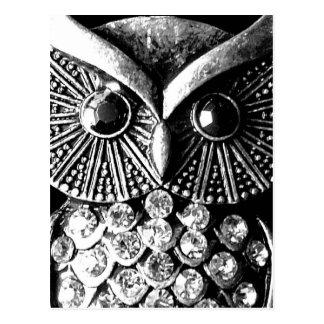 Coruja Jewelled chamativo do metal Cartão Postal