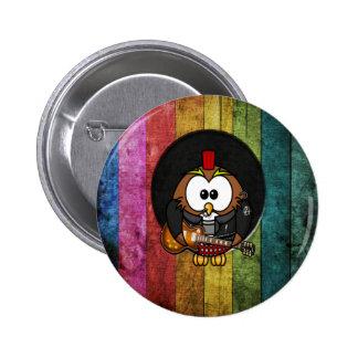 Coruja legal engraçada do rock&roll com jogo das p bóton redondo 5.08cm