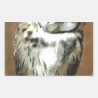 Coruja listrada sonolento bonito adesivo retangular