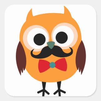 Coruja masculina com bigode preto adesivos quadrados