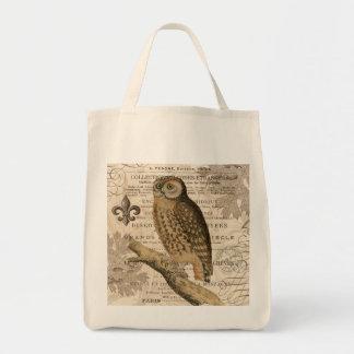 coruja moderna do francês do vintage bolsas de lona