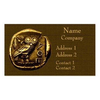 Coruja na moeda do grego clássico cartao de visita
