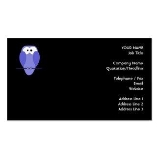 Coruja na noite. Azul, preto Cartão De Visita