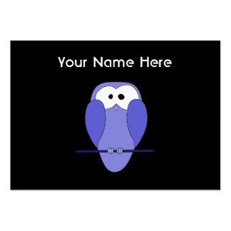 Coruja na noite. Azul, preto Cartão De Visita Grande