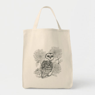 coruja preto e branco do vintage com o bolsa das