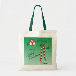 Coruja que deseja lhe o saco do presente do Feliz Sacola Tote Budget