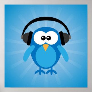 Coruja retro azul Funky com fones de ouvido Poster