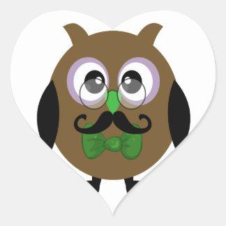 Coruja retro com Moustache do bigode Adesivo Em Forma De Coração
