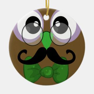 Coruja retro com Moustache do bigode Ornamento De Cerâmica Redondo