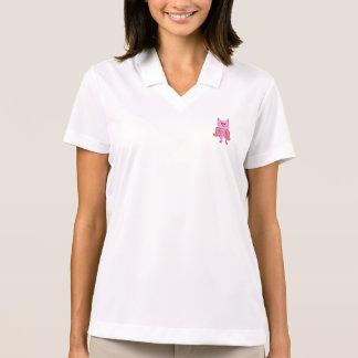Coruja retro do vintage cor-de-rosa camisa polo