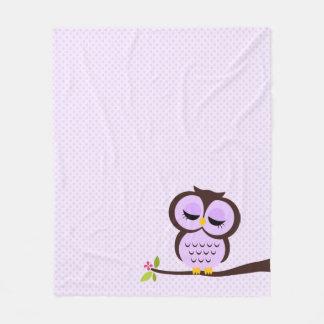 Coruja roxa bonito cobertor de lã