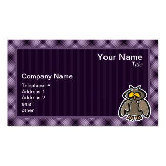 Coruja roxa cartão de visita