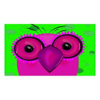 Coruja roxa Funky dos desenhos animados no fundo d Modelo Cartão De Visita