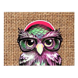 Coruja sábia do tatuagem colorido legal com vidros cartão postal