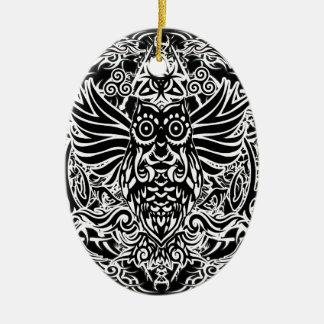 Coruja tribal do tatuagem ornamento de cerâmica