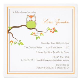 Coruja verde e alaranjada do convite do chá de convite quadrado 13.35 x 13.35cm