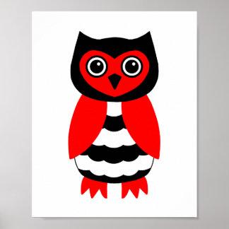 Coruja vermelha e preta poster