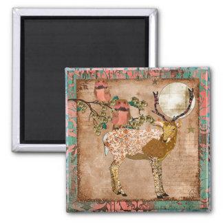 Corujas aciganadas cor-de-rosa douradas & ímã orna ímã quadrado