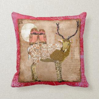 Corujas aciganadas cor-de-rosa douradas & luar travesseiro de decoração