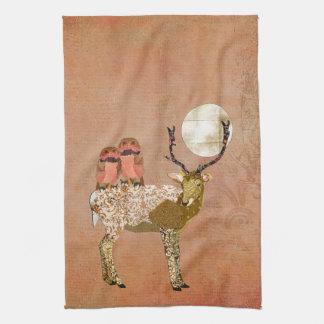 Corujas aciganadas cor-de-rosa douradas toalhas