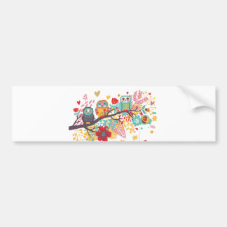 Corujas bonitos e fundo floral colorido da imagem adesivo para carro