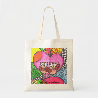 Corujas bonitos na arte do amor sacola tote budget