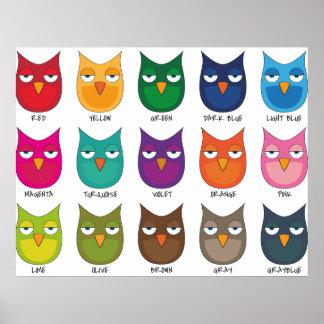 Corujas coloridas/corujas coloridas poster