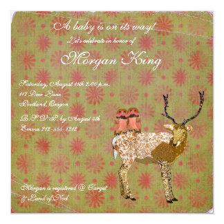 Corujas cor-de-rosa douradas & chá de fraldas convite quadrado 13.35 x 13.35cm