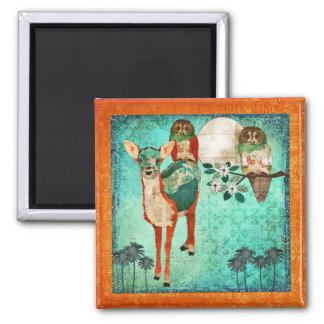 Corujas cor-de-rosa & ímã Azure da jovem corça Ímã Quadrado