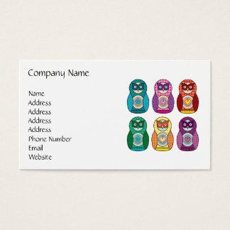 Corujas de Matryoshka do arco-íris Cartão De Visitas