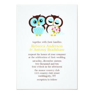 Corujas do casamento convite 12.7 x 17.78cm
