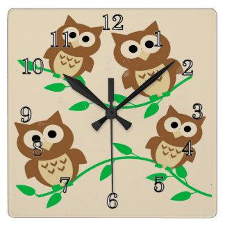 Corujas dos desenhos animados relógios para pendurar