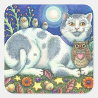 Corujas e a folha das ETIQUETAS do CAT da arte