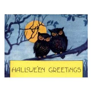 Corujas em um cartão do Dia das Bruxas da árvore