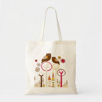 Corujas estilizados coloridas bonitos na cidade sacola tote budget