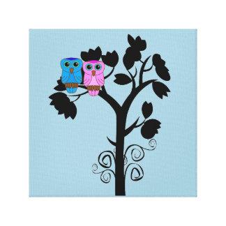 Corujas - pássaros do amor - arte romântica bonito impressão em tela