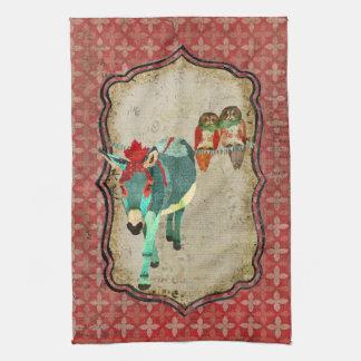 Corujas & toalha cor-de-rosa do asno do rubi
