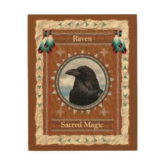 Corvo - canvas de madeira mágicas sagrados