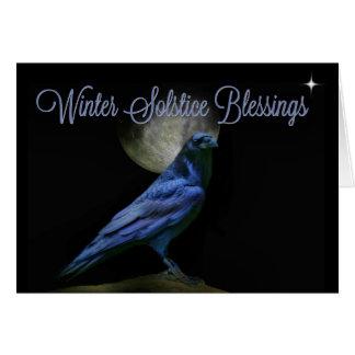 Corvo das bênçãos do solstício de inverno e cartão