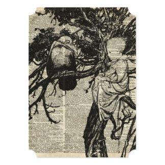 Corvo e criança em uma ilustração velha do vintage convite 12.7 x 17.78cm